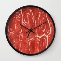meat Wall Clocks featuring Meat! by Tiffany Chan Illustration