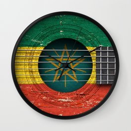 Old Vintage Acoustic Guitar with Ethiopian Flag Wall Clock