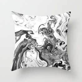 Suminagashi 1 black and white marble spilled ink ocean swirl watercolor painting Throw Pillow