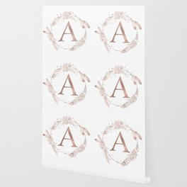 Letter A Rose Gold Pink Initial Monogram Wallpaper