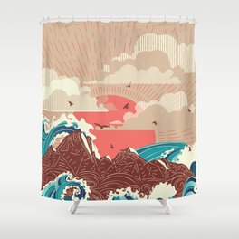 Stylized big waves of ocean or sea at sunset landscape Shower Curtain