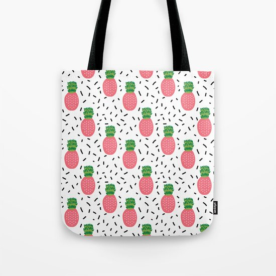 Pineapples dots black and white pattern tropical fruits print Tote Bag