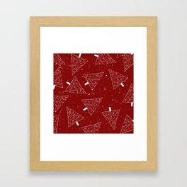 Christmas Trees Red Framed Art Print