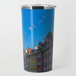 Summer soap bubbles in the city Travel Mug