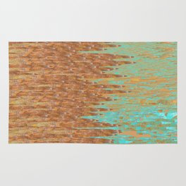 Jagged Turquoise and Copper Design Rug