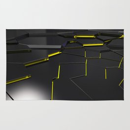Black fractured surface with yellow glowing lines Rug