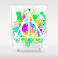 deathly hallows Shower Curtains featuring The Deathly Hallows by Christina