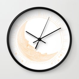 Moai Crescent Moon Wall Clock