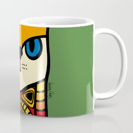 Nine Lives of a Cat in Green Coffee Mug