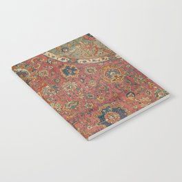Persian Medallion Rug IV // 16th Century Distressed Red Green Blue Flowery Colorful Ornate Pattern Notebook