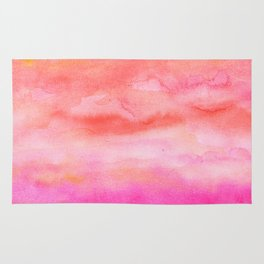 Bright pink orange sunset watercolor hand painted Rug