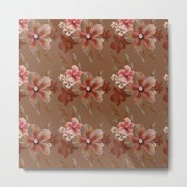 Mocha Tropical Flora Metal Print