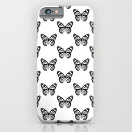 Monarch Butterfly Pattern | Vintage Butterfly Pattern | Black and White | iPhone Case