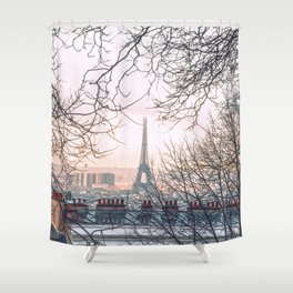 Paris behind trees Shower Curtain