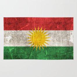 Vintage Aged and Scratched Kurdish Flag Rug