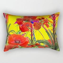 MODERN TROPICAL FLOWERS GARDEN DESIGN IN YELLOW-ORANGE COLORS Rectangular Pillow