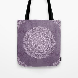 White Lace on Lavender Tote Bag