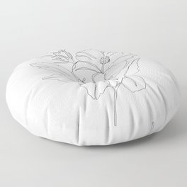 Floral one line drawing - Hibiscus Floor Pillow