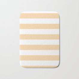 Horizontal Stripes - White and Sunset Orange Bath Mat