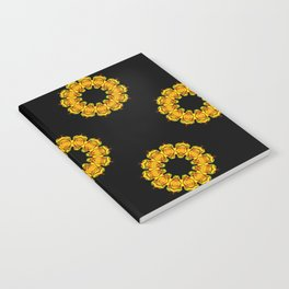 Black and Gold Sunflower Mandala Fractals - Moroccan style Notebook