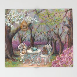Vintage Woodland Tea Party Throw Blanket