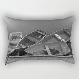Four Skiffs B&W Rectangular Pillow