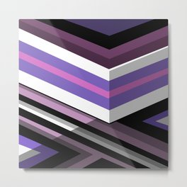Abstract Lined Purple Metal Print