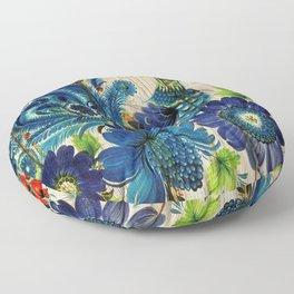 Russian Folk Art on Wood 02 Floor Pillow