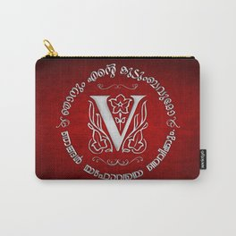 Joshua 24:15 - (Silver on Red) Monogram V Carry-All Pouch