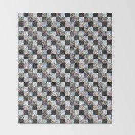 Rustic Black Brown Blue Patchwork Throw Blanket