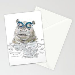Hippo with swimming goggles Stationery Cards