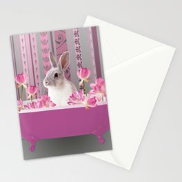Bunny sitting in bathtub with lotus flowers #society6 Stationery Cards