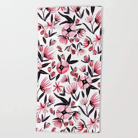 Black and Peach Flowers - Watercolor Pattern Beach Towel