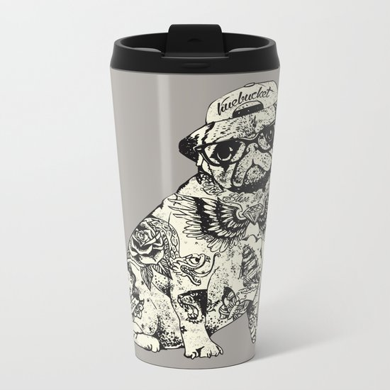 Pug Tattoo Metal Travel Mug