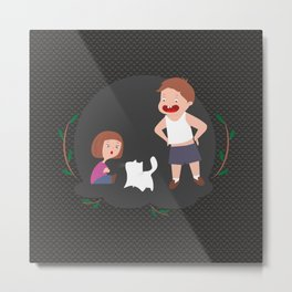 Children play with a cat Metal Print