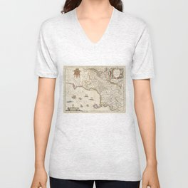 Vintage Map of Campania Italy (1662) Unisex V-Neck