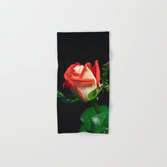 Red and White Rose Bud Hand & Bath Towel