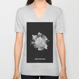 Amsterdam, The Netherlands Black and White Skyround / Skyline Watercolor Painting (Inverted Version) Unisex V-Neck