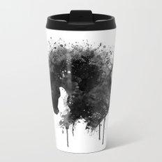 Black and White Horse Head Watercolor Silhouette Metal Travel Mug