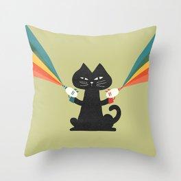 Ray gun cat Throw Pillow