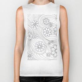 Modern abstract black white hand drawn floral Biker Tank