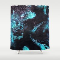 ashton irwin Shower Curtains featuring SPIRITS by Adaralbion