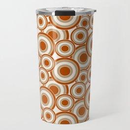 Overlapping Circles in Burnt Orange and Tan Travel Mug