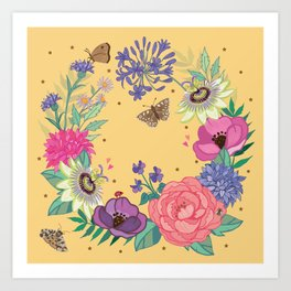 Bright Floral Garland on Yellow Art Print