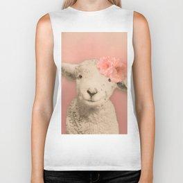 Flower Sheep Girl Portrait, Dusty Flamingo Pink Background Biker Tank