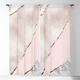 Spliced mixed rose gold marble Blackout Curtain