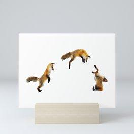 Fox Snow Jump Mini Art Print