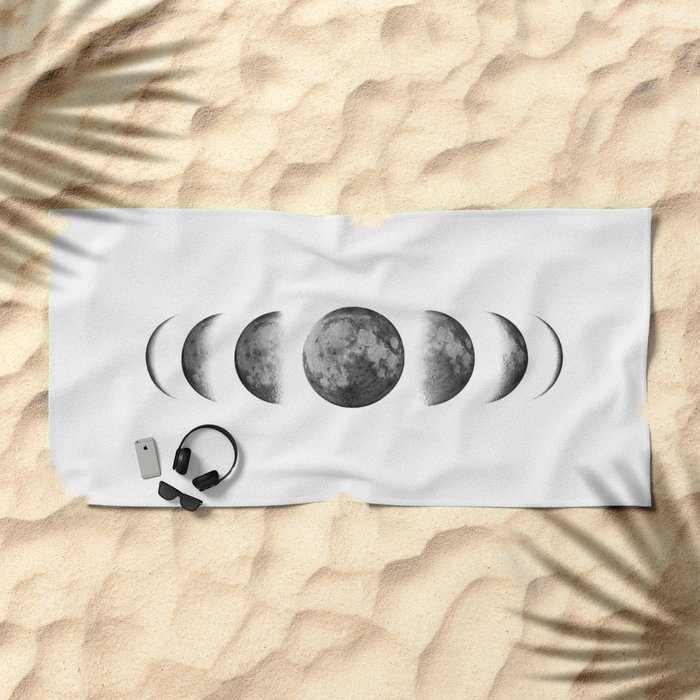 Phases of the moon - Scandinavian art Beach Towel