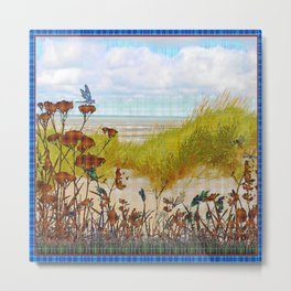 Plaid Beachscape with Dragonflies Metal Print