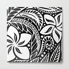 Circular Polynesian White Floral Tattoo Metal Print